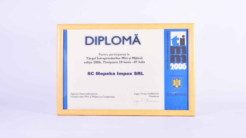 Diplomă de participare la Targul Intreprinderilor Mici și Mijlocii, Timișoara