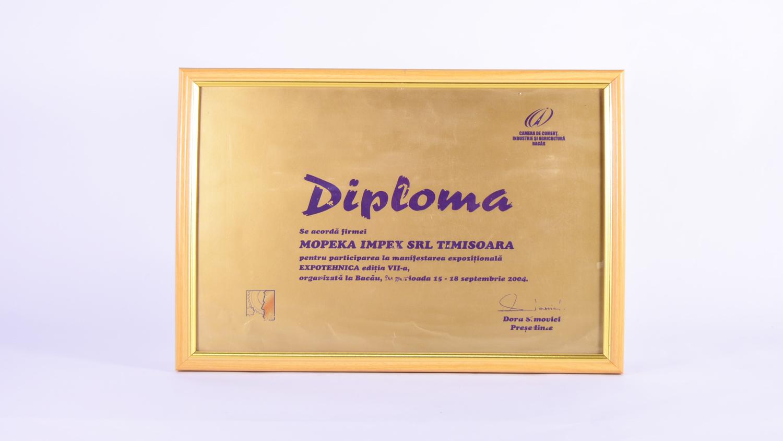Diplomă de participare la manifestarea EXPOTEHNICA editia VII-a
