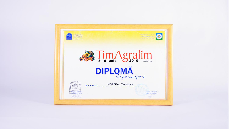 Diplomă de participare la manifestarea TimAgralim, ediția a VIII-a